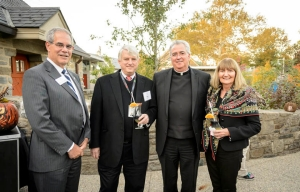 Gary A. Gabriele, Drosdick Endowed Dean, College of Enginereering; Richard Faris '69 CE, '70 MSCE; Villanova University President The Rev. Peter M. Donohue, OSA, PhD, '75 CLAS; and Marilyn Faris.