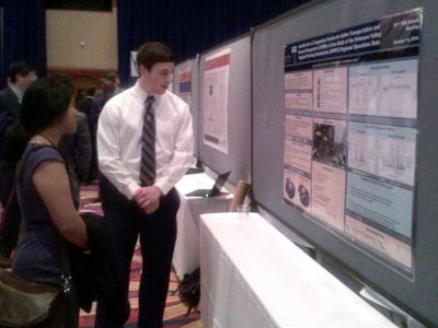 Jonathan Mize '15 CE presents research he conducted with Seri Park, PhD, assistant professor of Civil and Environmental Engineering.