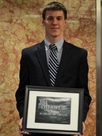 The 2014 Falvey Scholar award for the College of Engineering was presented to Robert McGrane '14 ChE