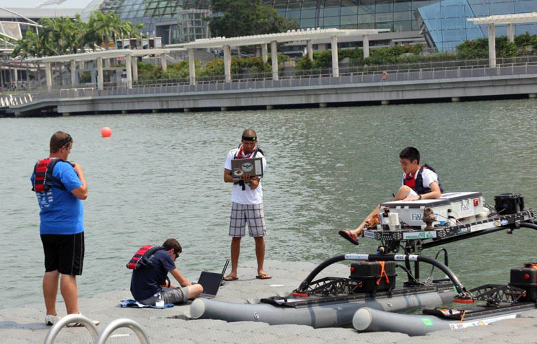 WAM-V preparations on Marina Bay, Singapore.