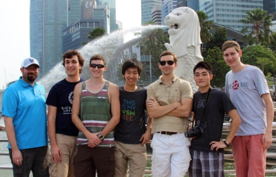 Members of Team WORX in Singapore: Garrett Clayton, associate professor of Mechanical Engineering; graduate student Anderson Lebbad '12 ME; Dylan DeGaetano '16 ME; Ed Zhu '16 ME; graduate student J. Wes Anderson '13 ME; Gin Cheng '15 CpE; and Mike Benson '15 ME.