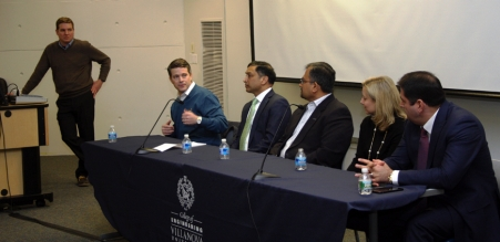 Assistant Dean of External Relations Keith Argue hosted the Alternative Career Panel with Scott Nepereny '00 EE, senior manager, Life Sciences, Accenture; Raj Patil, CEO, AEEC; Abhay Borwankar '92 MSME, director, Deloitte Consulting; Melissa Morea '94 CE, director, Global Construction Practice, Navigant Consulting; and Farshid Asl '98 MSME, managing director of a leading global investment firm.