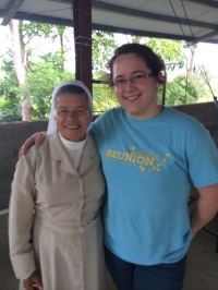 Stephanie Molina '15 CE (right), recipient of the Dr. Lewis J. Mathers Award, is seen with Sister (Hermana) Orfa, a nun in Tortí, Panama.