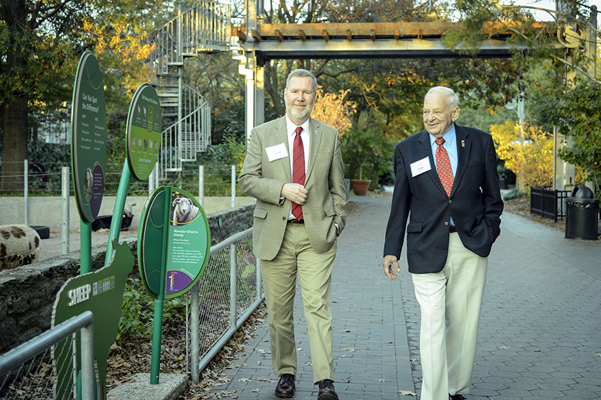 "G. F. ""Jerry"" Jones, PhD, Senior Associate Dean, Graduate Studies and Research, College of Engineering, and Professor of Mechanical Engineering, with Philip Piro '50 EE at an Ignite Change event at the Philadelphia Zoo."