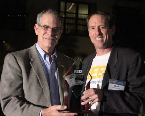 Drosdick Endowed Dean of Engineering, Gary A. Gabriele, PhD, accepts the 2014 Dean of the Year award from KEEN Program Director and Team Leader Steve Hasbrook.