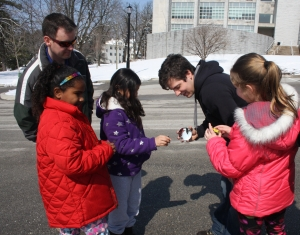 Mechanical Engineering Girl Scouts Day included experiments with solar-powered cars.