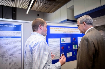 Zachery Smith '16 ChE presents his research to Drosdick Endowed Dean of Engineering Gary A. Gabriele, PhD.
