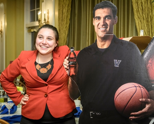 Computer Engineering senior Christine Fossaceca took advantage of a photo opp with Jay Wright's cutout.