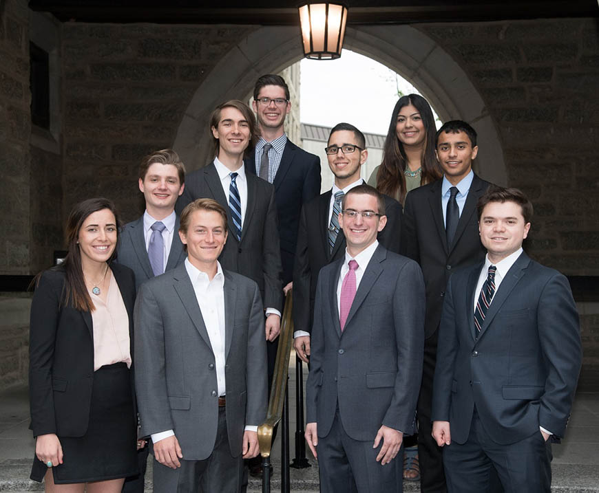 Villanova's 2016-2017 Fulbright recipients—Clockwise from far left: Mary Trotter, Stephen Wemple, Adam Vincent, Patrick Smith, Enmanuel Almonte, Aisha Chughtai, Rishi Chauhan, James DiGregorio, Andrew Moffa and Thomas Trainer (Not pictured: Lauren Rutherford, Joseph Schaadt and Cherisse Smith).
