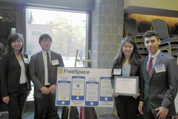 Andres Llerena '16 CpE (far right) was a member of team FreeSpace, which won VSEC's Unitas Award.