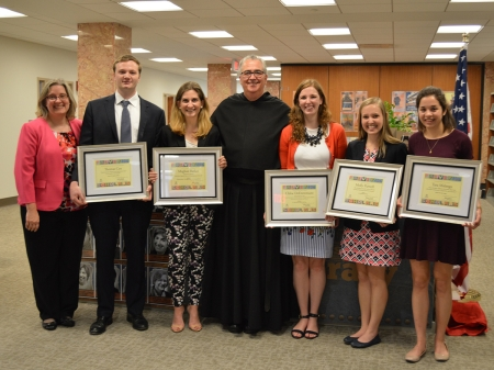 Ms. Millicent Gaskell, Director of Falvey Memorial Library and University Librarian, with Falvey Scholar Award winners Thomas Cox '16 COE; Meghan Barker '16 CLAS; University President The Rev. Peter M. Donohue, OSA, PhD, '75 CLAS; Chloe DeEntremont'16 CLAS; Molly Purnell '16 CON; and Tara Malanga '16 CLAS. Credit: Alice Bampton, digital image specialist and senior writer, Falvey Memorial Library