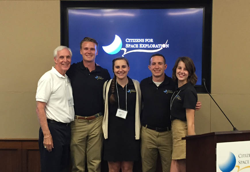 Villanova participants in the 2016 Citizens for Space Exploration advocacy trip included alumnus Tom Sanzone '68 EE, and current Mechanical Engineering undergraduates Don Pontrelli '18, Emily Dailey '18, Dominick Colao '19 and Hannah Drazan '19.
