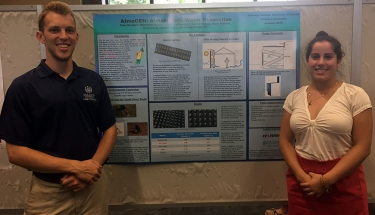 Andrew Meluch '16 ME, '18 MSSE and Stephanie Krakower '18 CE present AtmoGEN, moisture extracting technology for drought-stricken countries.