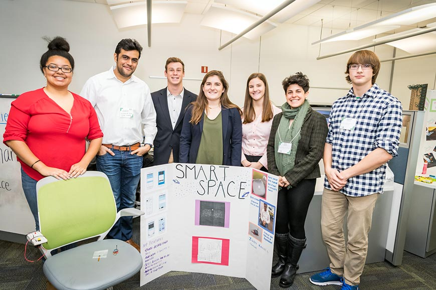 "Team Amplifiers took 2nd place with their app ""Smart Space"": Vanessa Hamilton, Akash Gvalani, Anthony Busa, Lauren Tschirch, Ashley Meier, Julia Anthony and Joseph DiBella."