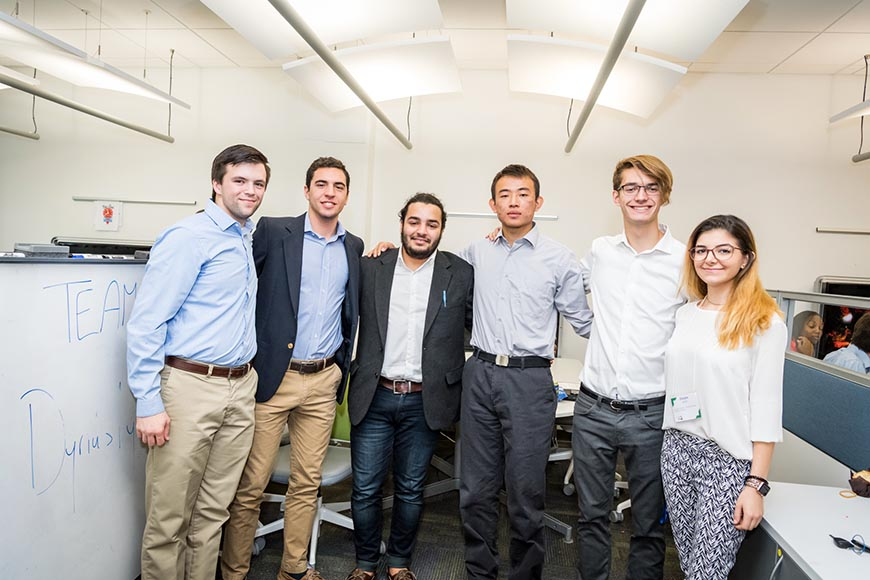 "Team Dynasty took  3rd place with ""Dybs"": Michael Valentine, Demetrios Kyriannis, Annasse Rajeh, Kaixuan Ji, Connor Maher and Delara Kiani."