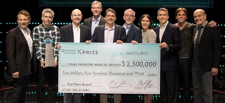 Electrical and Computer Engineering Adjunct Professor Edward Hepler, PhD, (third from left), was part of the Qualcomm Tricorder XPRIZE winning team.