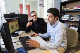 C. Nataraj, PhD, with postdoctoral associate Ali Jalali, '15 PhD