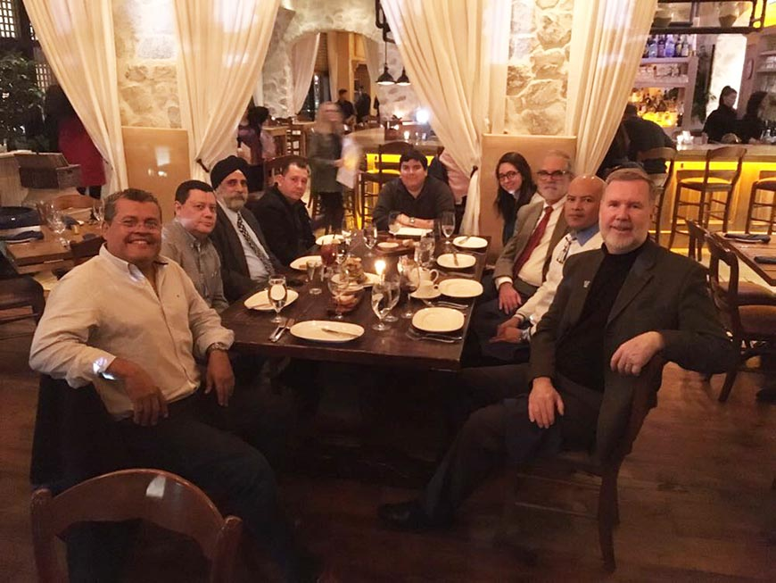 Dr. Pritpal Singh, Engineering Dean Gary A. Gabriele, and Senior Associate Dean Gerard Jones enjoyed dinner with UNI leaders who visited Villanova's campus.