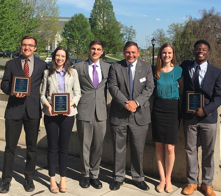 CEE Senior Awards: Nicholas Zoccoli, Sarah Bates, Thomas Saldutti (to be presented with the Robert D. Lynch Award at Convocation), Dr. Shawn Gross, Rebecca Connolly (to be presented with the CEE Medallion at Convocation) and Mark Orebiyi.