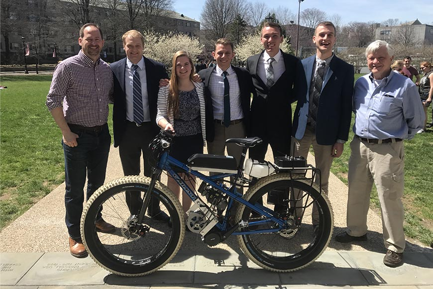 Christini with members of the Christini Hybrid Fatbike team and advisor Dr. McLaughlin.