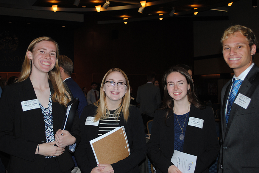Margaret Liedkta '20 CE, Jennifer Kraynik '20 ChE, Juliet Minor '20 ME and Conor O'Mara '20 CE attended the Villanova SWE event.