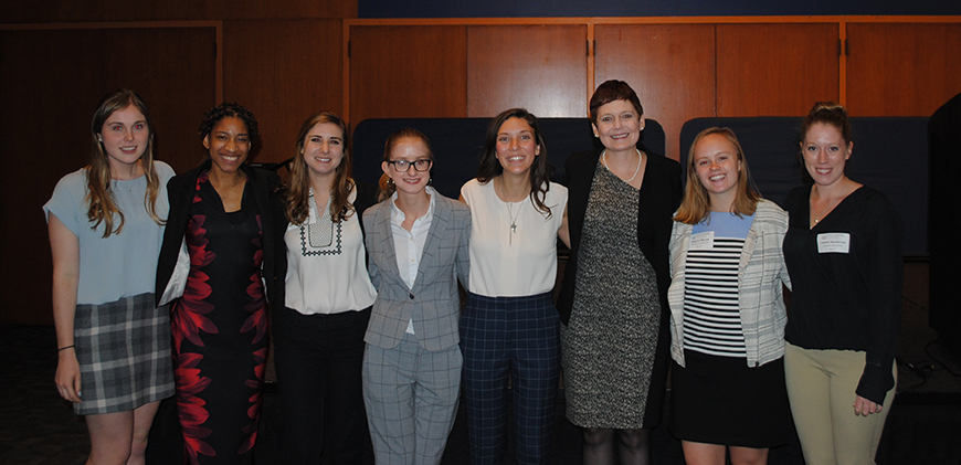 Members of the Villanova SWE executive board with guest speaker Dr. Anne Roby '86 ChE (third from left).
