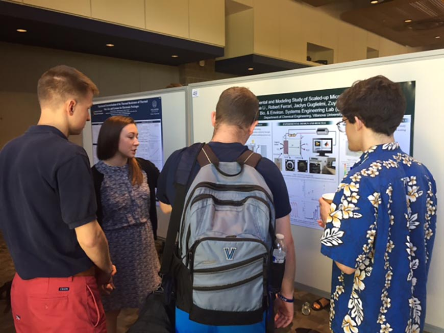 Jaclyn Guglielmi '17 ChE presents her team's work, which placed first among Engineering undergraduate posters.