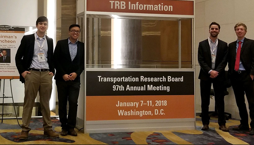 Civil and Environmental Engineering seniors Nathaniel Gallishaw, Andy Ye, Camden Palvino and David Harvey attended the TRB conference.