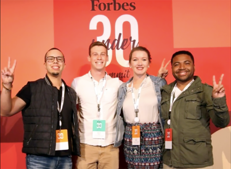 Villanova Engineering seniors Anthony Busa (2nd from left) and Branden Garrett (right) participated in the Forbes Under 30 Summit in Boston with Villanova Nursing students Tony Garcia and Lauren Munter.