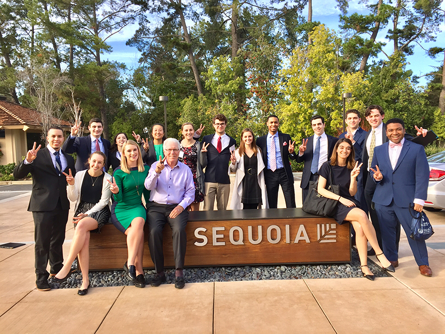 Engineering undergraduates were among the 18 students to participate in Villanova in the Valley: Branden Garrett '19 CpE, far right with bowtie; Patrick Korzeniowski '19 ME, center with red tie; and Emily Dailey '18 ME, left of Patrick.