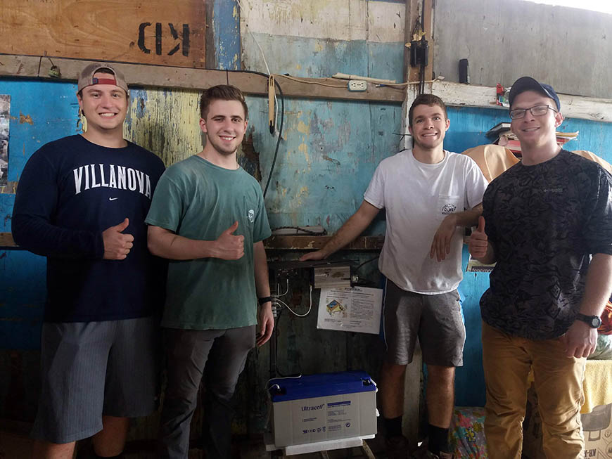 Students on the Cerritos team—Doug Hauser '19 EE, John Rechichi '19 CpE, Daniel Fetsko '19 CE and John Timon '19 EE—helped install solar electric systems and teach community members how to maintain them.