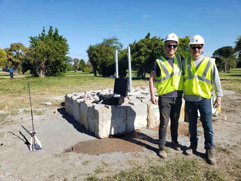 Civil Engineering graduate student James Hanley '18 CE accompanied Dr. Jonathan Hubler to New Zealand for blast liquefaction soil testing.