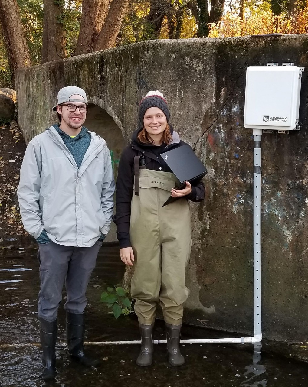 Graduate students Mike Burns and Rebecca Martin collecting data at Naylor's Run.
