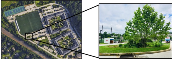 2 photos, Location map of BTI on West campus (left) and photo of BTI witht he outflow inlet (right)