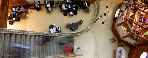 students inside Bartley lobby