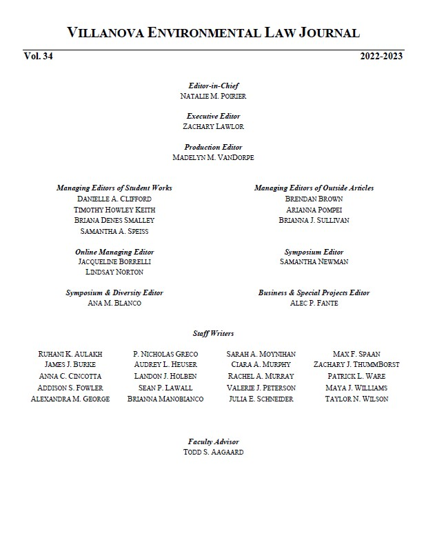 Villanova Environmental Law Journal 2018-2019 Masthead
