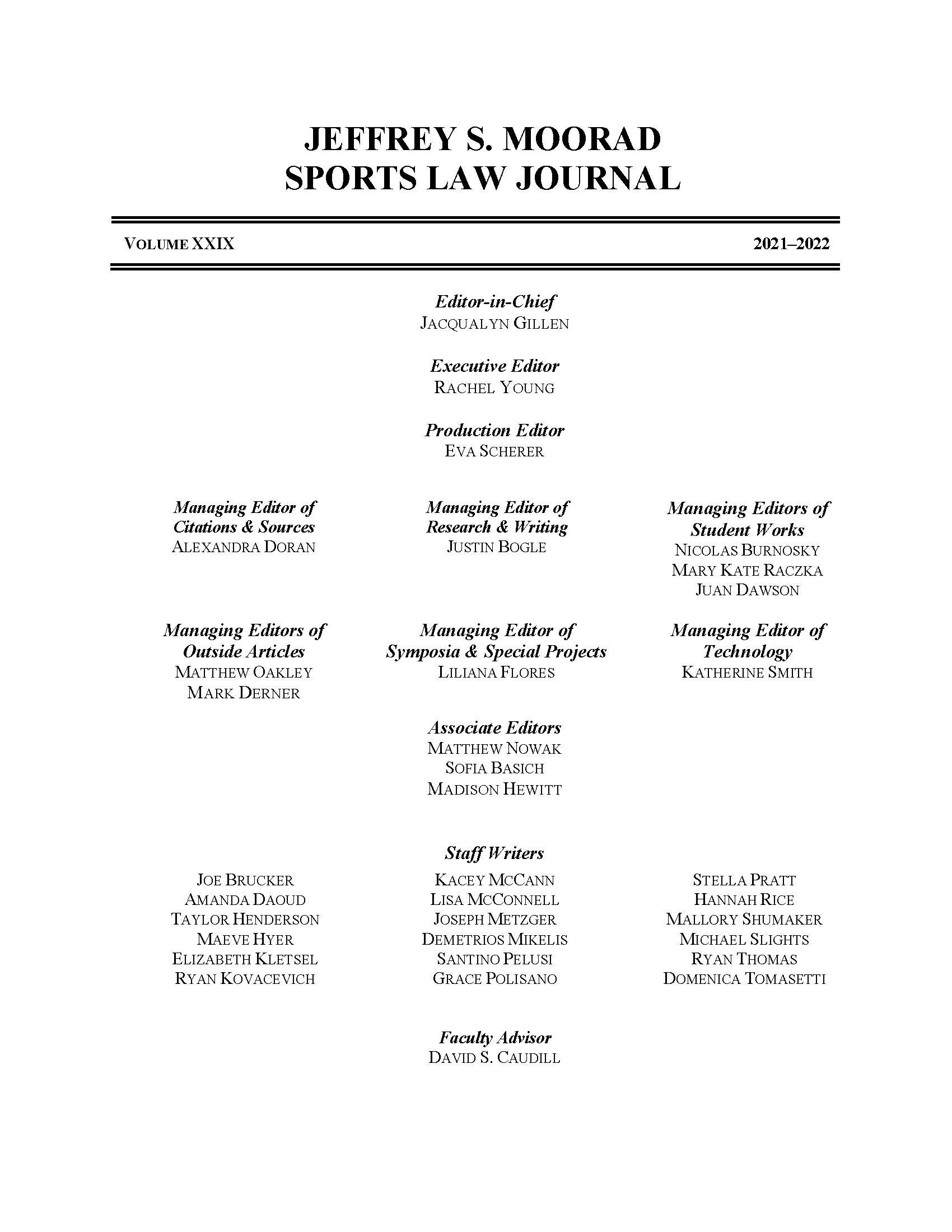Moorad Sports Law Journal - Volume 27 Masthead