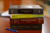Stack of law textbooks