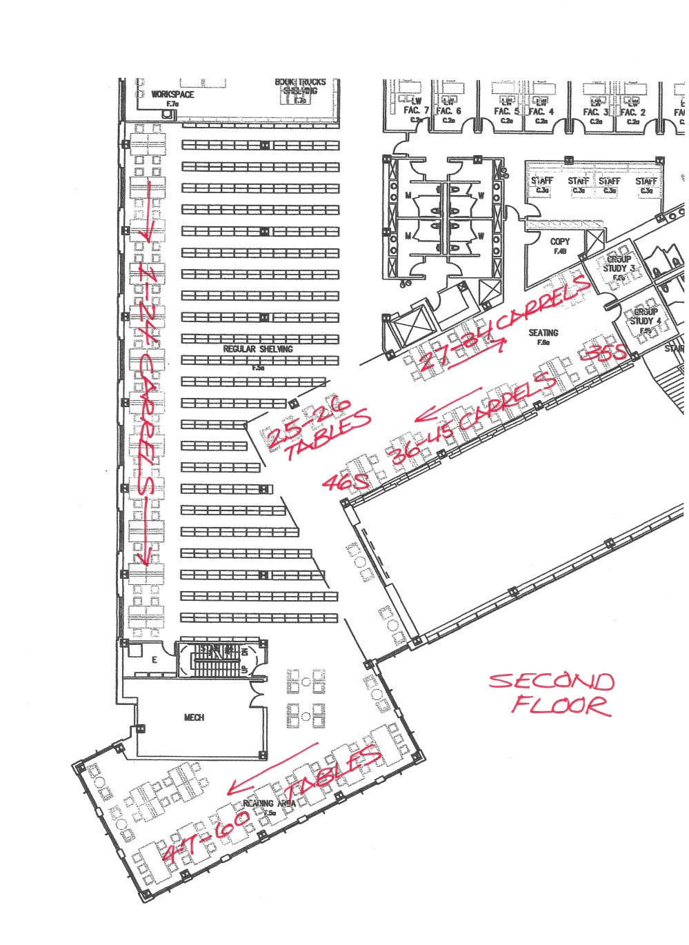 Map of Second Floor that Includes Reserved Seating Sections with Seat Numbers
