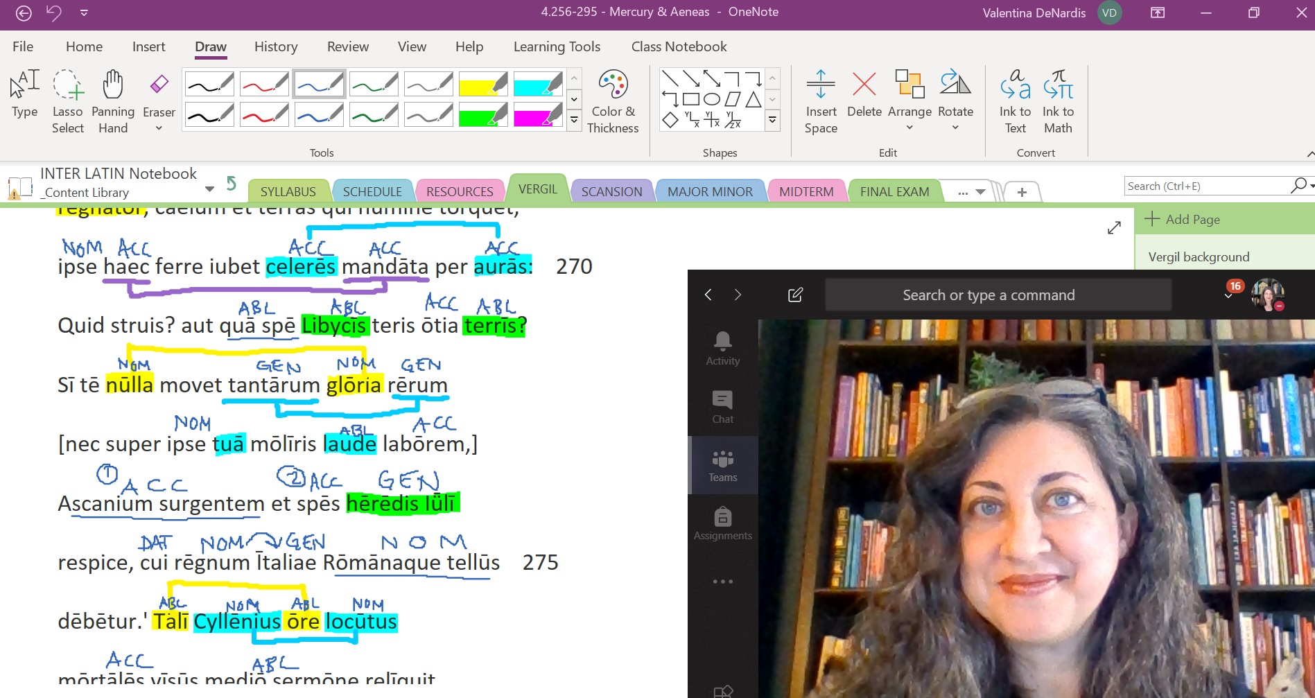 Photo of Dr. DenNardis's face on a video screen next to a heavily annotated piece of Latin text on her OneNote screen that she shares with her students