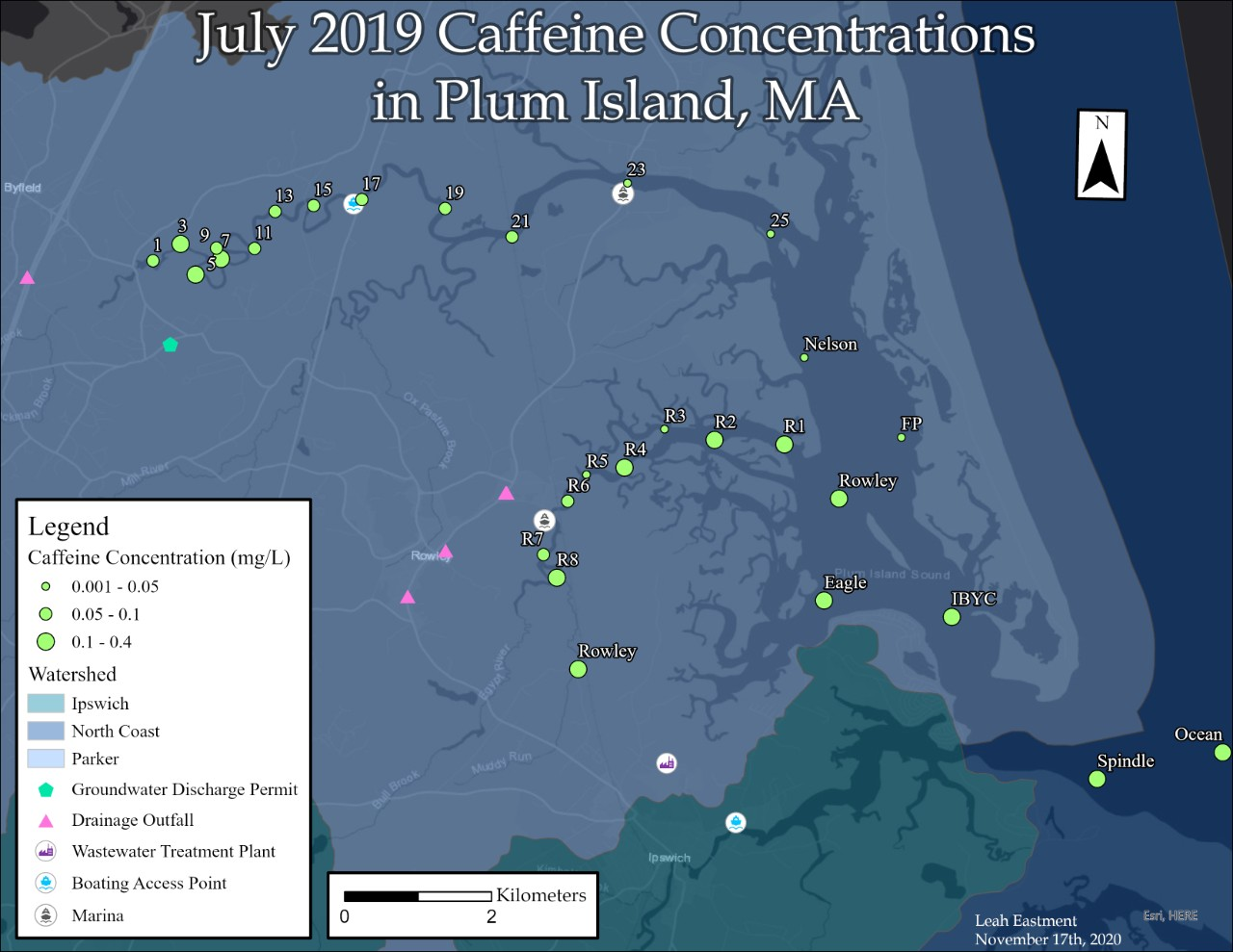 GIS caffeine concentration map of Plum Island Sound, Massachusetts