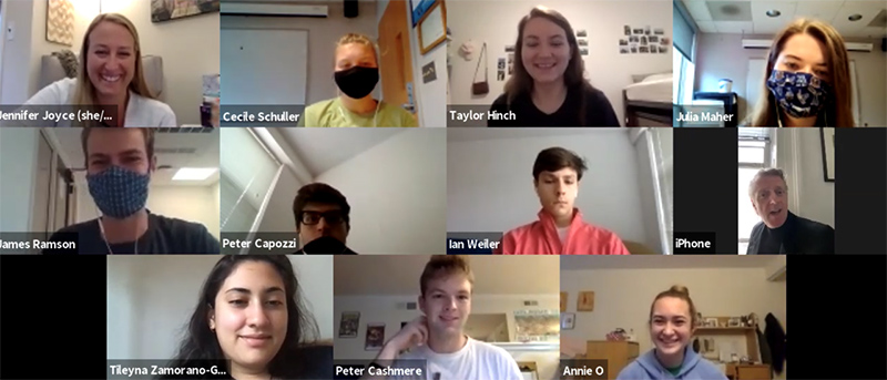 Screenshot of the Zoom screen. Dr. Joyce is on the top left, joined by some students and Northern Irish Author Owen McCafferty
