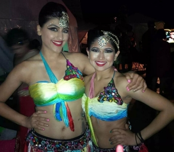 Priya Shah '16 ME (right) with Kahini, a professional dancer.