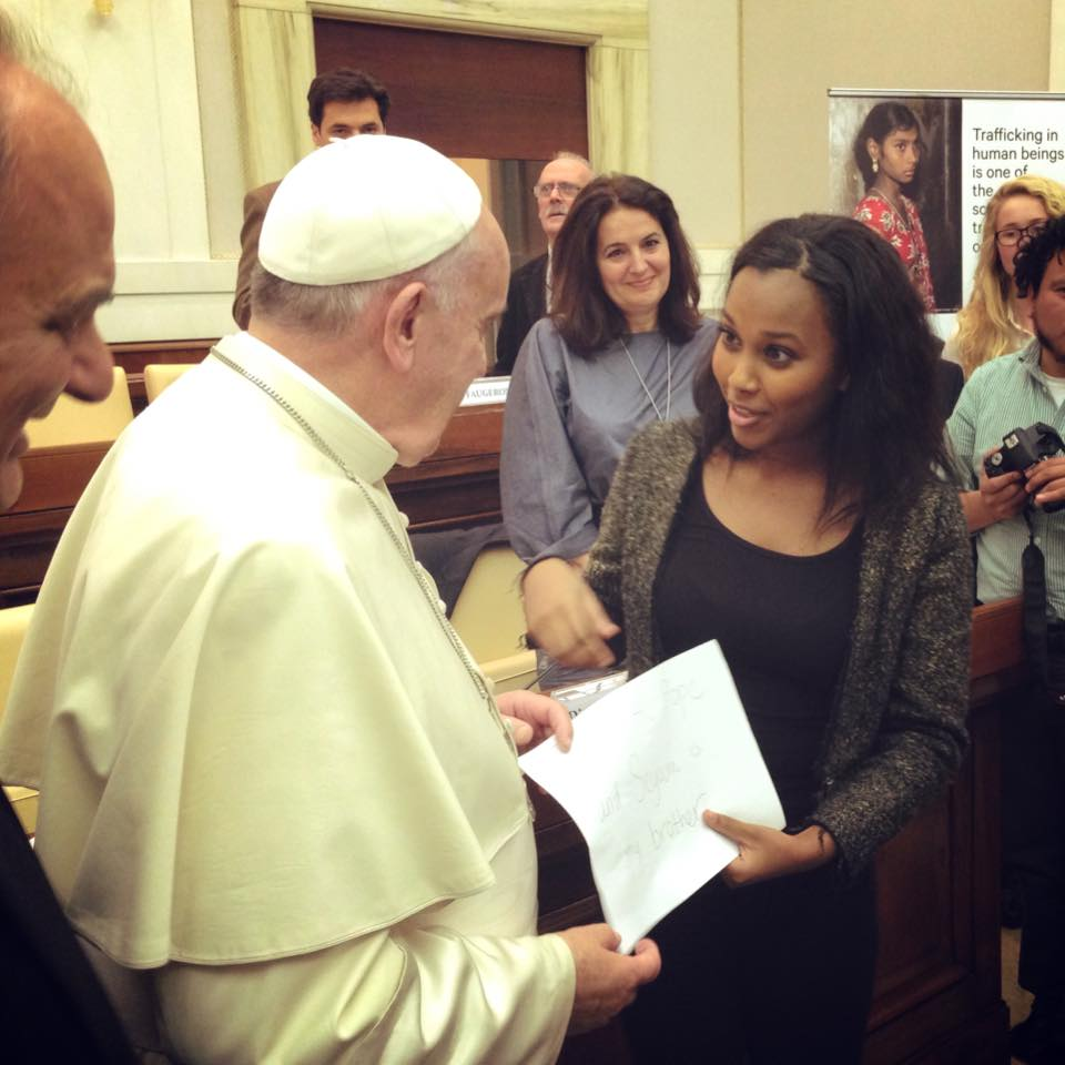 Vanessa Berhe speaks with Pope Francis