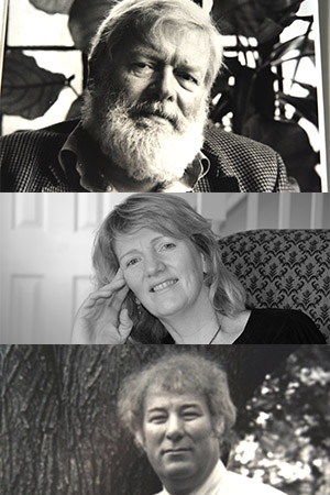 three black and white photos stacked on top of one another. they are each from the shoulders up. the top photo is of Michael Longley, an older white man with white hair and a beard. the middle photo is of Moya Cannon, a middle-aged white blond woman with her head resting on her hand. the bottom photo is of Seamus Heaney- a frizzy haired middle aged white man in a tie standing in front of a tree with a cigarette in his hand.
