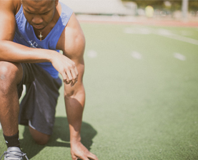 athlete praying
