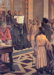 """Augustine Giving the Rule to His Followers"""