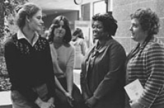 Nursing students, Dr. Barbara Nichols, 1981 Distinguished Lecturer, and Dean Fitzpatrick.