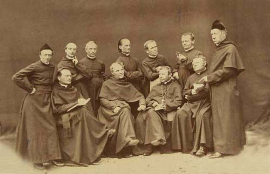 Mendel and the Augustinian Community of St. Thomas Monastery in Brno.  The community included philosophers, composers and scientists.  Mendel is standing, second from the right holding his favorite flower, the fuchsia.