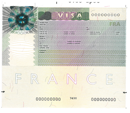 image of French visa